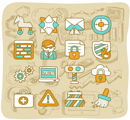 Mocha Series    Security,business,icon set Stock Vector - 13784379