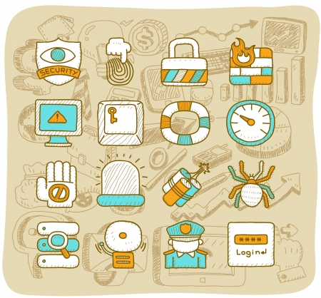 Mocha Series    Security,business,icon set Stock Vector - 13784377