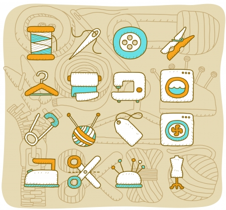 Mocha Series   Sewing icon set Vector