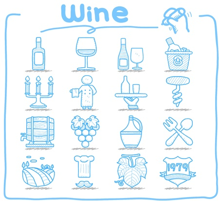 Pure Series - Hand drawn Wine icon set Vector