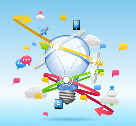 cloud computing: Light bulb ,Cloud computing,communication Concept Illustration