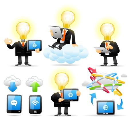 cartoon cloud: Elegant People Series - Bulb man concept