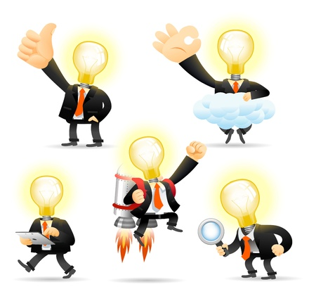 tablet pc in hand: Elegant People Series - Bulb man concept