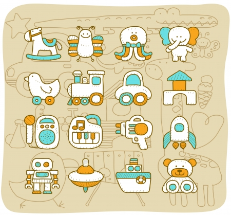 Mocha series - Toy,baby icon set Vector