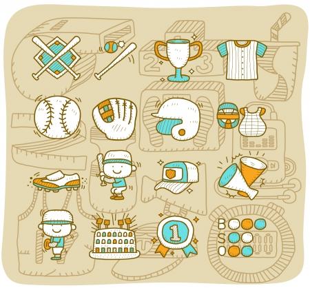 Mocha Series Baseball, sport jeu d'icônes Vecteurs