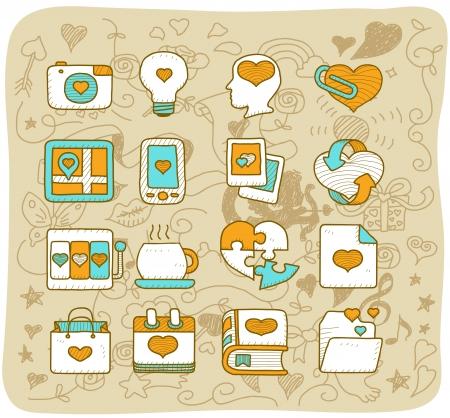 light transmission: Mocha Series - Valentine s Day ,love , wedding icon set Illustration