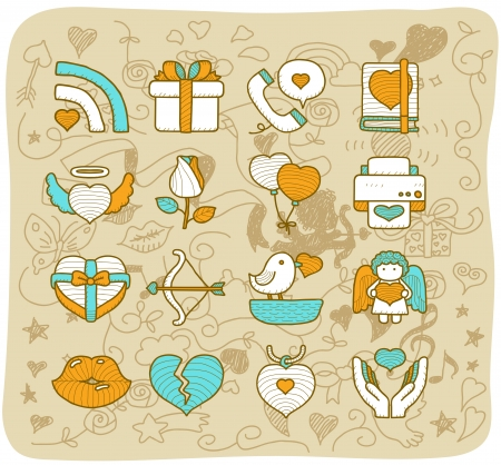Mocha Series - Valentine s Day ,love , wedding icon set Vector