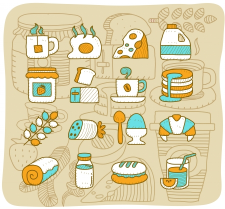 Mocha Series - Breakfast, food icon set Stock Vector - 14080440