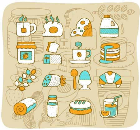 Mocha Series - Breakfast, food icon set Stock Vector - 14080440