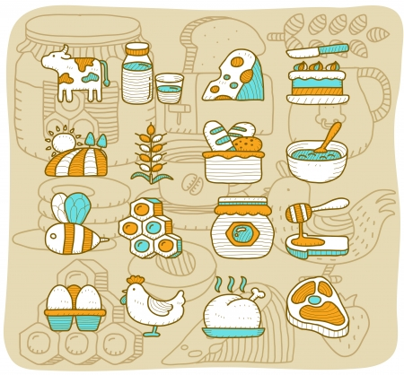 chicken and egg: Mocha Series - Dairy , Natural Product Icon set