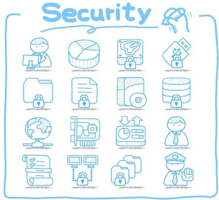 seguridad laboral: Seguridad pura de la serie, de negocios, Internet conjunto de iconos