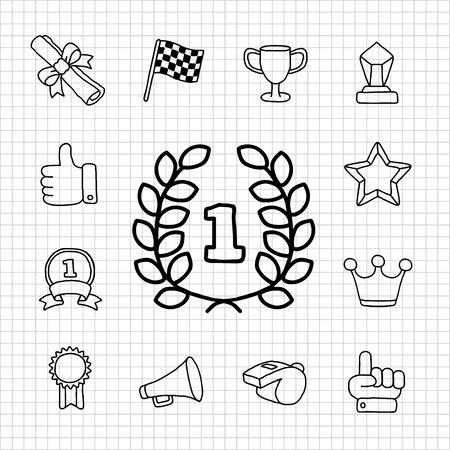 White Series   Award icon set Vector