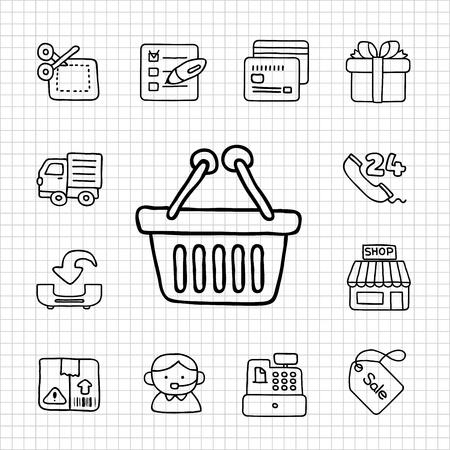hand cart: Serie Blanca Shopping icon set Vectores