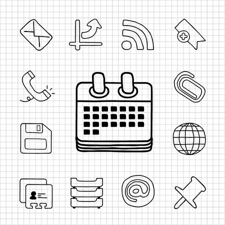White Series   Office icon set Stock Vector - 14199620