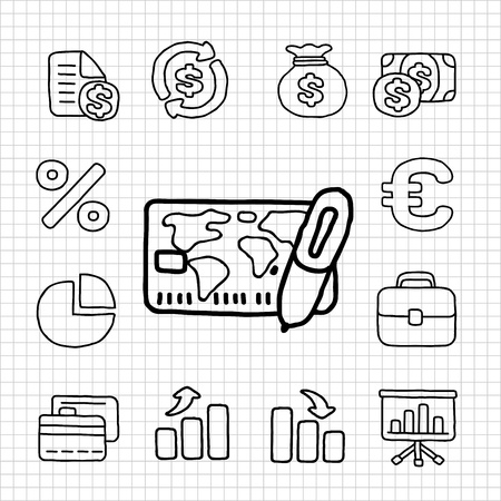 White Series   Financial,Banking icon set Stock Vector - 14199622