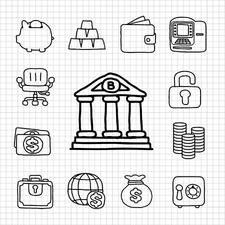 White Series   Financial,Banking icon set Stock Vector - 14199658