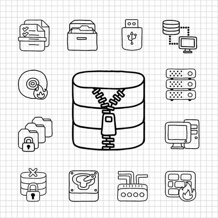 White Series   Storage icon set Vector