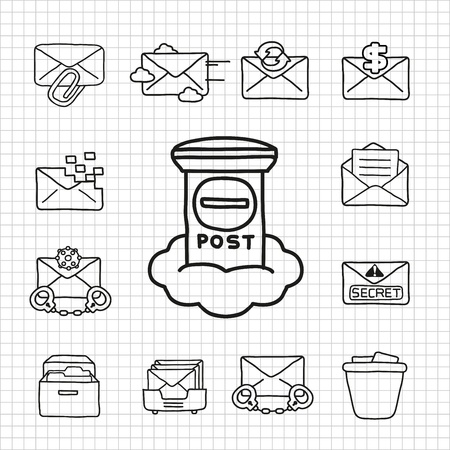 White Series   Email icon set Stock Vector - 14199612