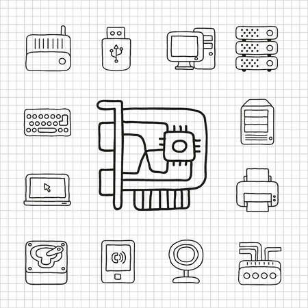 disconnect: White Series   Hard device icon set Illustration