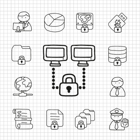 White Series   Security  icon set Vector