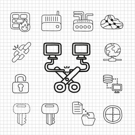 White Series  Conncetion icon set Stock Vector - 14199616