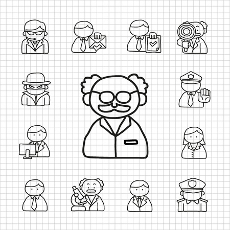 White Series professional occupation  icon set Vector