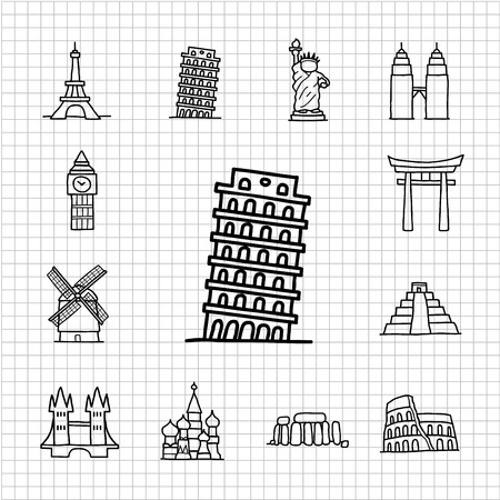 White series   hand drawn landmark icons Vector