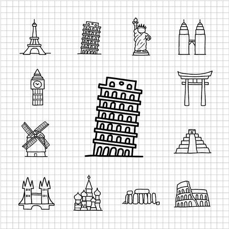 White series   hand drawn landmark icons Stock Vector - 14243173