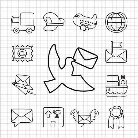 carrier pigeons: White Series   Hand drawn Mail and delivery icon set