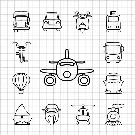 flying boat: Blanco Serie mano drawnCar, Transporte conjunto de iconos Vectores