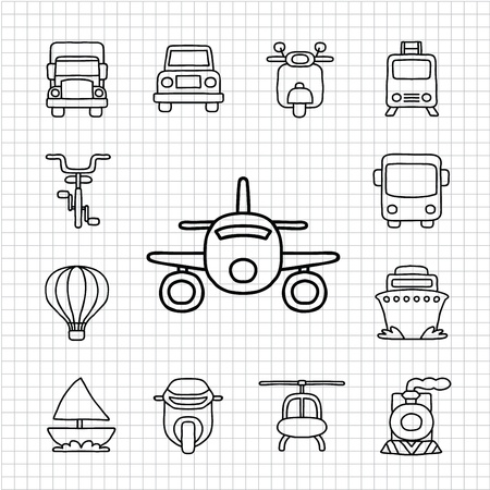 White Series Hand drawnCar, Transport icon set Stock Illustratie