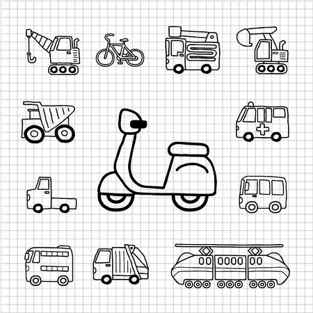 White Series Hand getrokken Auto, Transport icon set Stock Illustratie