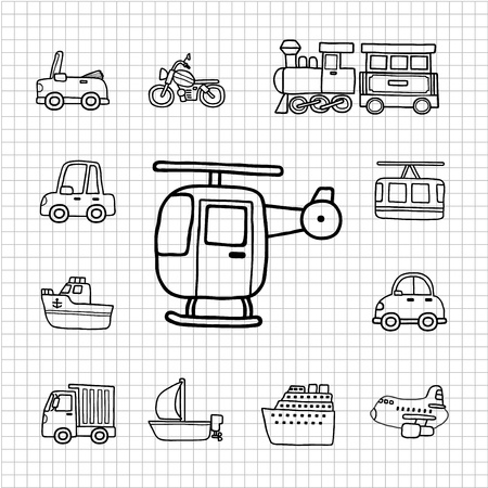 White Series   Hand drawnCar,Transportation icon set Stock Vector - 14243169