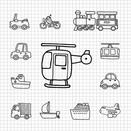 transportation icon: White Series   Hand drawnCar,Transportation icon set Illustration