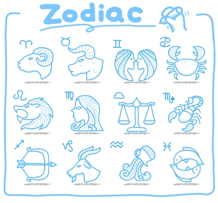 Pure Series   Hand drawn Zodiac icon set Vector