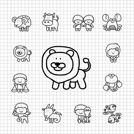 White Series   Hand drawn Zodiac icon set Vector