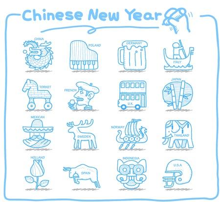 tourist icon: Pure Series   Hand drawn Country,Travel icon set
