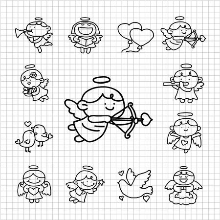 angeles bebe: Blanca serie - Angels conjunto de iconos Vectores