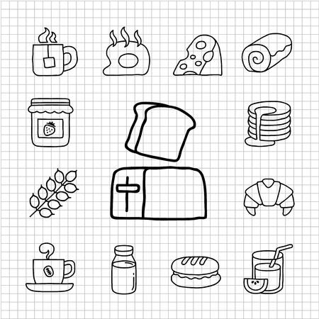 pan con mantequilla: Serie Blanca - Desayuno conjunto de iconos