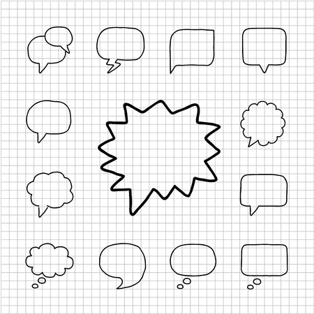 White series - Speech Bubbles icon set Stock Vector - 14266172