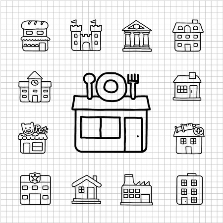 White Series - Building  icon set Vector