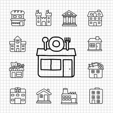 White Series - Building  icon set