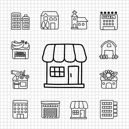 White Series - Store,Building  icon set Vector