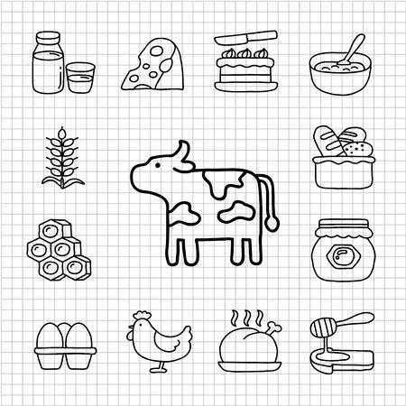White Series - farm  icon set Stock Vector - 14266182