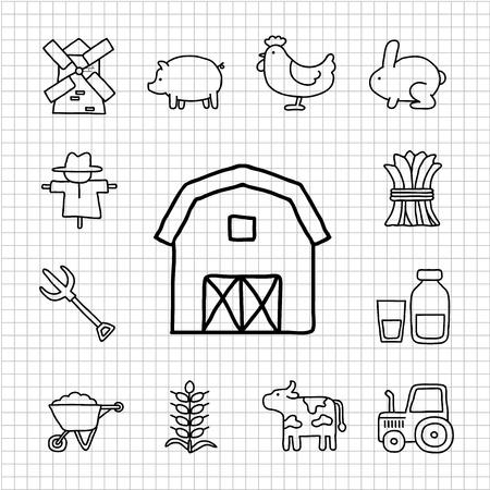 scarecrow: Serie Blanca - granja de conjunto de iconos