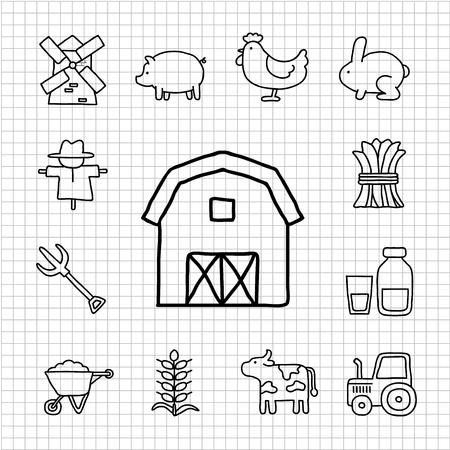 White Series - boerderij icon set Stock Illustratie