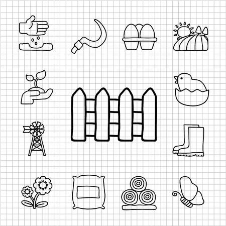 bála: Fehér Series - Kert icon set Illusztráció