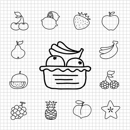 White Series - Fruit ,food  icon set Vector