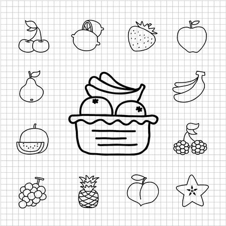 food icon set: White Series - Fruit ,food  icon set