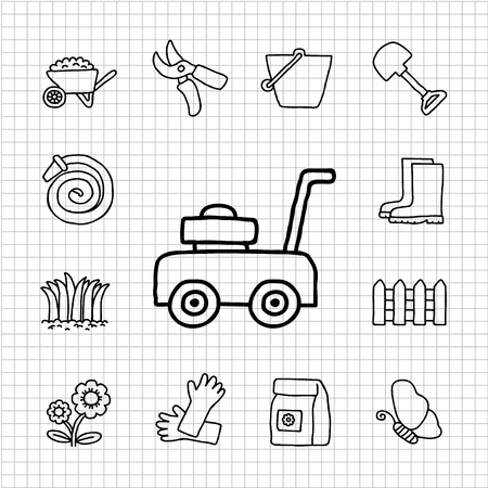 White Series - Garden icon set Stock Vector - 14266188
